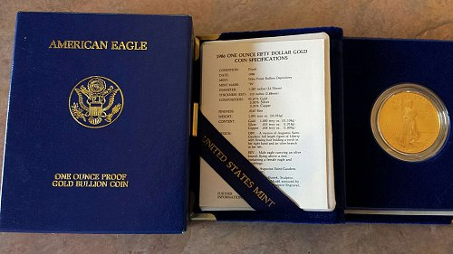 1986-W 1oz American Gold Eagle w/Original Box, Velvet Case, and COA