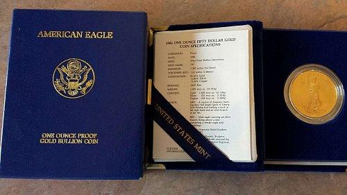1986-W 1oz American Gold Eagle w/Original Box, Velvet Case, and COA