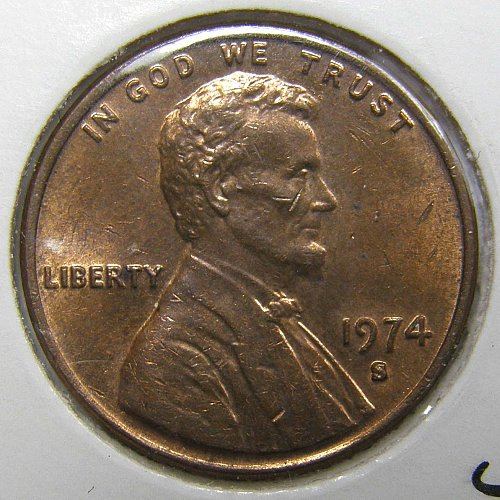1974 S Lincoln Memorial Cent #1 - BLOB S Variety