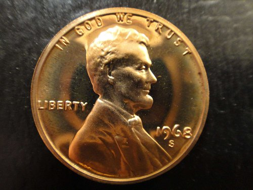 1968-S Lincoln Cent Proof-65 (GEM) RED Very Nice Coin!