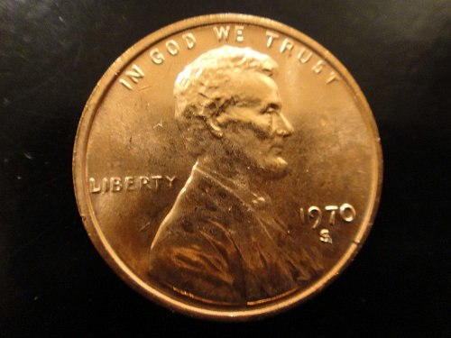 1970-S Large Date Lincoln Cent MS-65 (GEM) RED with Strong Flashy Luster!
