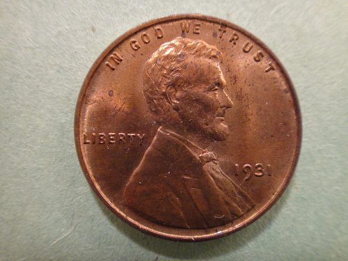 1931 Lincoln Cent MS-63 (Choice BU) RB And About 70% Red!