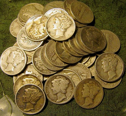 Roll11- 50 mercury Silver Dimes  early teens/20's to 30 thru 40's Priced Right /
