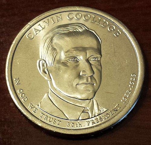 2014-D $1 Calvin Coolidge Presidential (Golden) Dollar From US Mint Roll! (5552)