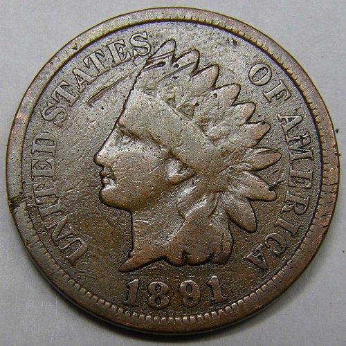 1891 P Indian Head Cent #5 ERROR