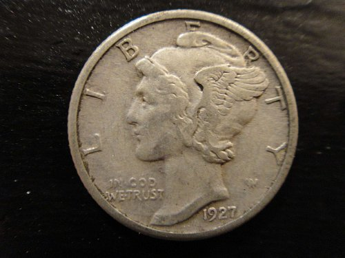 1927 Mercury Dime Extra Fine-40 Nice Subdued Traces of Luster!