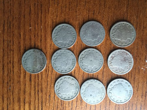 """Lot of 10 Liberty nickels """"v"""" nickels"""