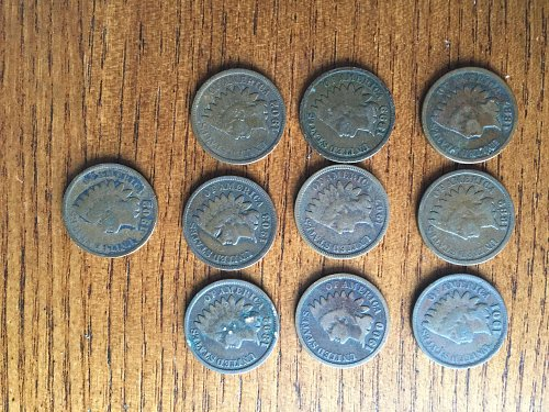 Lot of 10 Indian head cents