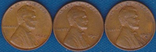 Lincoln Cents 1942 P,D & S