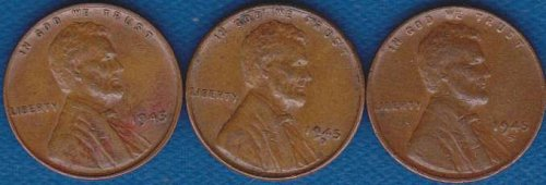 Lincoln Cents 1945 P,D & S