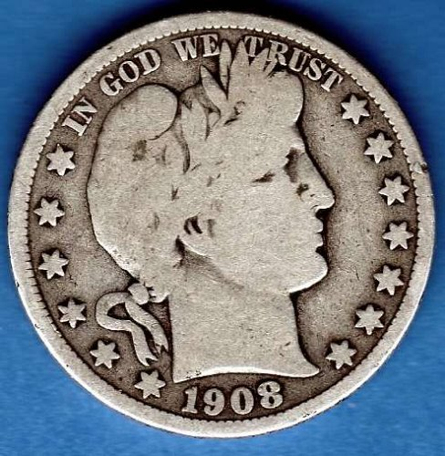 1908 D Silver Barber Head Half Dollar Genuine Natural US Coin