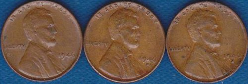 Lincoln Cents 1946 P,D & S