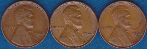 Lincoln Cents 1948 P,D & S