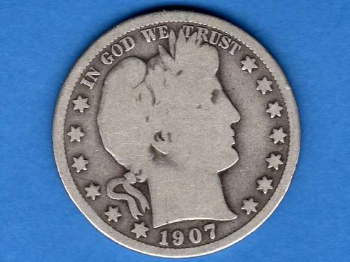 1907  D  Silver Barber Head Half Dollar Natural Genuine US Coin