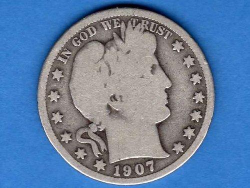 1907  D  Silver Barber Head Half Dollar Natural Genuine US Coin