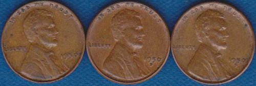 Lincoln Cents 1950 P,D & S