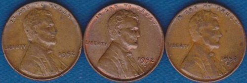 Lincoln Cents 1952 P,D & S