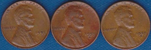 Lincoln Cents 1953 P,D & S
