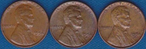 Lincoln Cents 1954 P,D & S