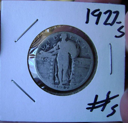 1927-S Standing Liberty Quarter #5 Free Shipping