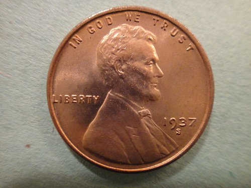 1937-S Lincoln Cent MS-66+ (GEM+) RED Knockout LUSTER!