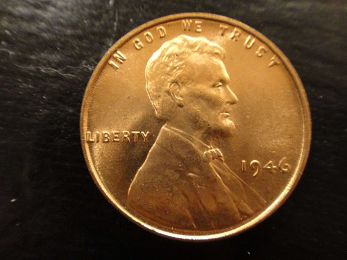 1946 Lincoln Cent MS-65 (GEM) RED Nice Orange Peel Luster!  Nice!!