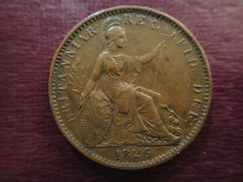 GREAT BRITAIN Farthing 1826 Extra Fine-40 Nice Rich Choclate Brown Coin!