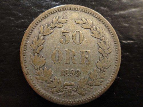 SWEDEN 50 Ores 1899-EB Very Fine-20 60% SILVER 0.0964 ASW KM#740