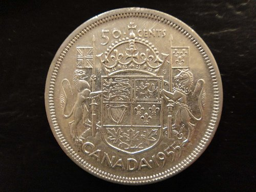 CANADA Half Dollar 1955 Almost Uncirculated-53 Nice Attractive No Problem Coin!