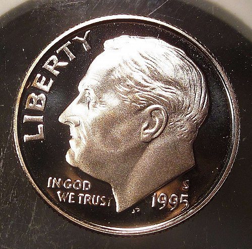 1995-S ROOSEVELT DIME – PROOF CLAD