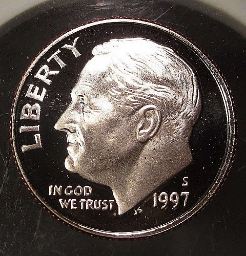 1997-S ROOSEVELT DIME – PROOF CLAD