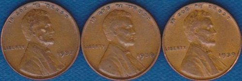Lincoln Cents 1937P 1938P 1939P