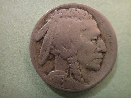 1915-S Buffalo Nickel Fine-12 Nice Original Nickel Gray and 3/4 of a Horn!