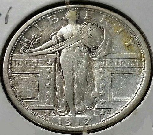 1917 D Standing Liberty Quarter ~  Type 1 - F 15