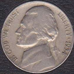 1954 D Jefferson Nickel
