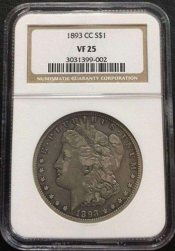 1893-CC $1 Morgan Silver Dollar NGC VF25 Very Fine SCARCE BETTER DATE ORIGINAL