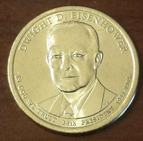 2015-D Eisenhower Golden Presidential Dollar - From Mint Roll *Ships Free (5655)