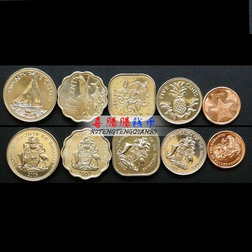 Bahamas 5 PCS Coins Set In Circulation New Phase 100% Genuine America Coins