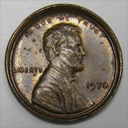 1970 P Lincoln Memorial Cent #1 Centered BROADSTRIKE ERROR