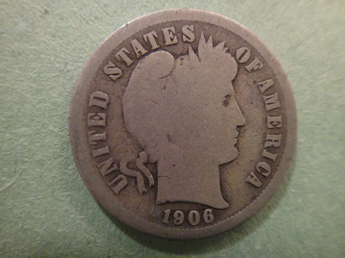 1906-S Barber Dime Good-4 Nice Original Old Silver Tone!