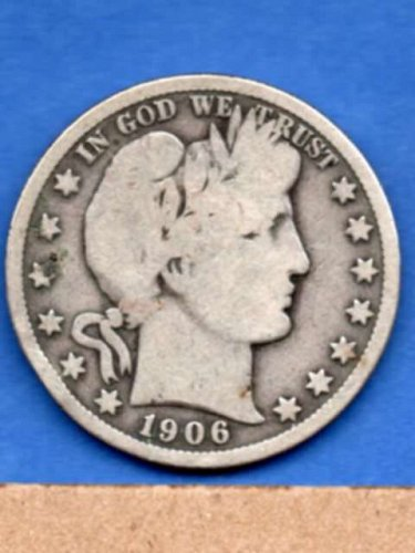 1906 Silver Barber Head Half Dollar Genuine Natural US Coin