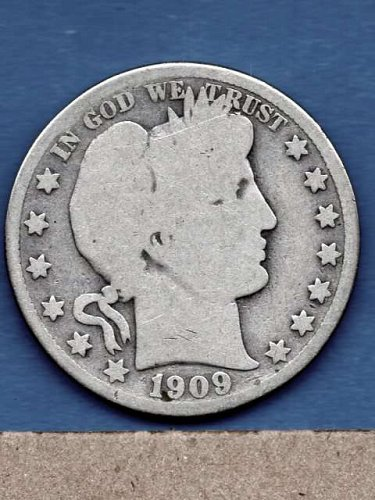 1909 Silver Barber Head Half Dollar Genuine  US Coins