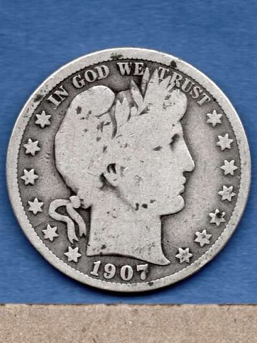1907  Silver Barber Head Half Dollar Genuine Natural US Coins