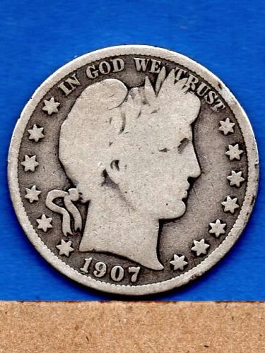 1907 D Silver Barber Head Half Dollar Genuine Natural US Coins