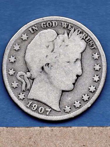 1907 D  Silver Barber Head Half Dollar Genuine Natural US Coins