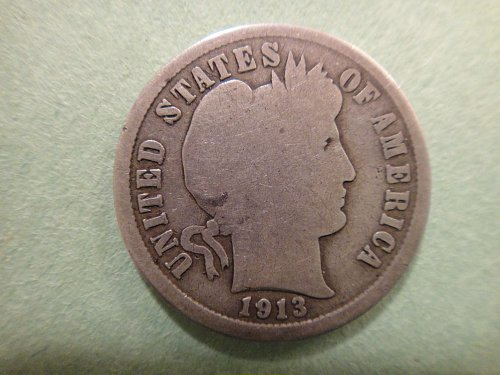 1913-S Barber Dime Good-4+ Nearly Contact Mark Free & Perfect Coin For Grade!