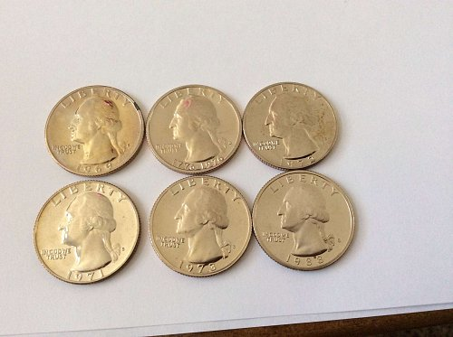 6 Proof Washington Quarters. 69,71,72,73,76,88