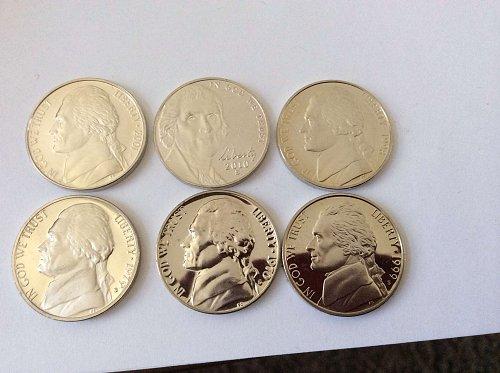 6 Proof Jefferson Nickels 70, 79, 98, 99, 01, 10