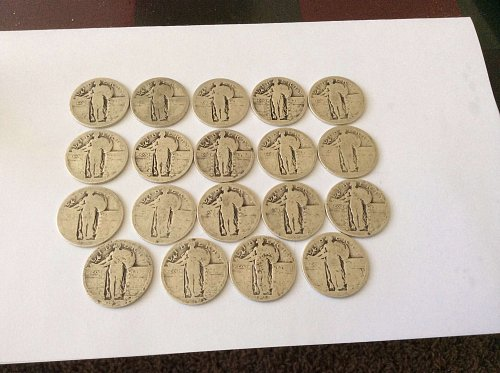 Lot of 19 Standing Liberty Quarters. 109 grams of silver