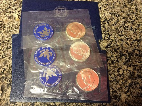 1972 Eisenhower Silver Blue Packs x 3